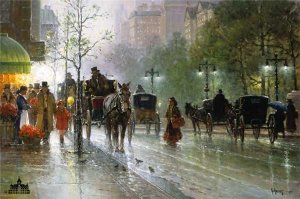 Cabbies on Fifth Avenue by G. Harvey