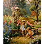 Children watching a butterfly in a stone garden